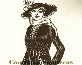 1915 Bolero-jacket sewing pattern. Shorter in front, and with a gathered waist. Buttoned at the necklineand the cuffs.