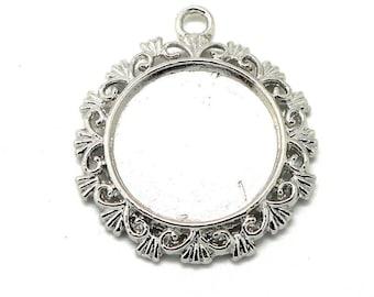 medium round cabochon 20mm silver color