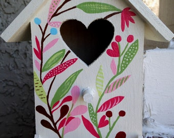 The Antique White with Colorful Foliage Heart Birdhouse and Feeder