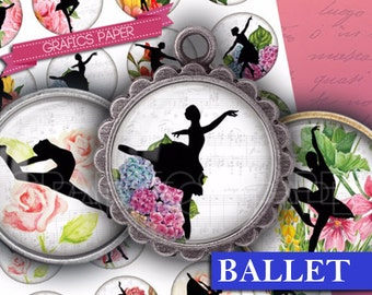 "Dancers Ballet images Digital Collage Sheet 1.5"", 1.25"", 30mm, 1 inch Circles, Digital Download - Images Glass & Resin Pendants -  td319"