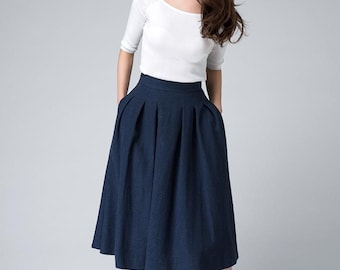 high waist skirt, midi skirt, knee length skirt, dark blue skirt, linen skirt, pleated skirt, A line skirt, womens  skirts, gift 1500