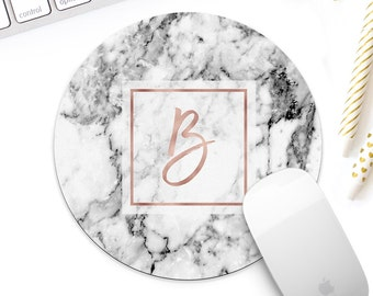 Rose gold marble monogram mousepad for her, white marble mouse pad, rose gold desk accessories, rose gold decor, rose gold accessories