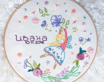 Hand Embroidery Hoop Art; Personalized hoop; Fairy Wall decoration