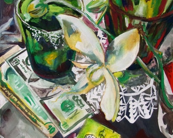 A Still life with Green Glasses and and Orchid
