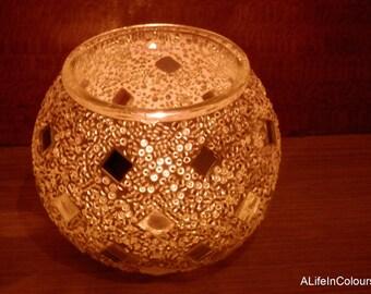 Turkish handmade white colour glass mosaic candle holder.