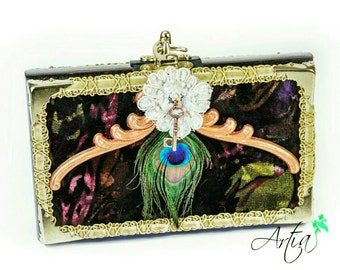 Italian velvet handcrafted box clutch.