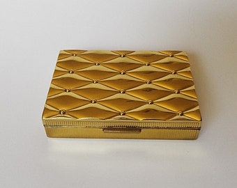Vintage 1950s Gold Tone Evans Basket Weave Square Compact with Screen and Powder Puff