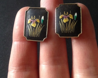 Original 1960's Vintage Damascene Earrings