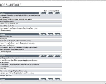 Home maintenance schedule and task list , excel planner , task list,  Instant Download Template