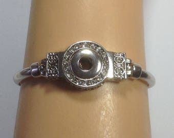 SILVER SNAP BRACELET.. Antiqued metal work...rhinestones...toggle closure...Fits 12mm snaps