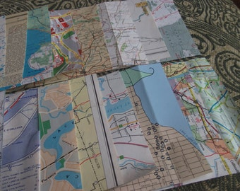 Mixed Grab Bag of Vintage Map Squares for Collage and Art Journaling