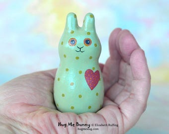 Handmade Bunny Rabbit Figurine, Miniature Green Bunny Rabbit Sculpture, Hug Me Bunny, Animal Charm Figure with Flowers, Personalized Tag