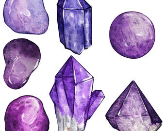 Amethyst Crystal Sticker Pack   Last Updated 12/17   Magical Stickers Hand Made with Love
