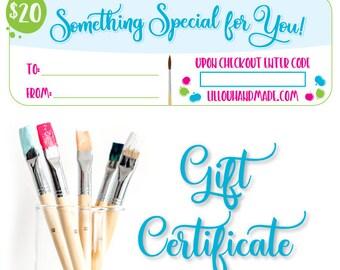 Gift Certificate - Gift Card - 20 dollars - handpainted sign - teacher gift - baby gift - teacher appreciation - baby shower gift