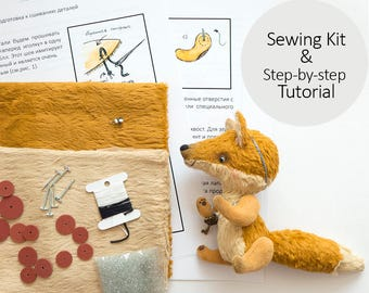 Sewing Kit for Teddy Fox with Tutorial and Pattern - DIY Teddy Fox 12cm from viscose