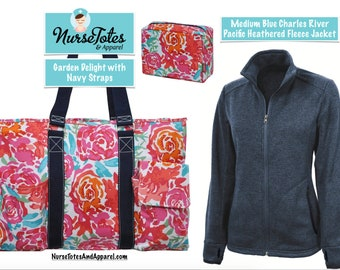 Charles River Heathered Jacket & Garden Delight Tote Set- Custom Embroidery Designs Available