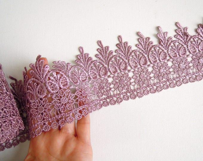 1 yrd Mulberry lace trim 9.5 cm Wide venise lace trim  Mauve lace trim for crowns  Lilac venise lace wide trim   Purple lace crown trim