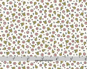 Tiny Floral Fabric, Small Print Blue, Green, Citron, Coral Floral Quilt Fabric, Maywood Studio Forest Friends 8187E, Kris Lammers, Cotton