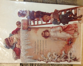 Victorian Die-Cut Greeting Santa Antique Paper Reproductions