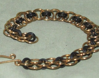 Steampunk, Industrial, Helm's Weave Brass & Rubber Chainmaille Bracelet