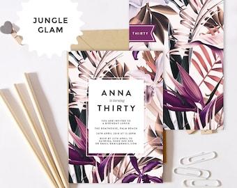 Jungle Glam Birthday Invitation   30th 40th 50th Birthday Invite