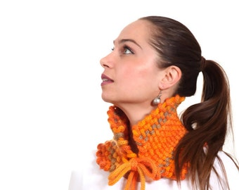 Knitted Scarf, Weaved Knit Cowl Neckwarmer in Orange by Solandia, handknit wool scarf, Christmas gift