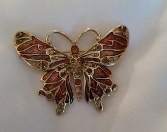 Vintage Monet Enamel Rhinestone Butterfly Brooch Pin