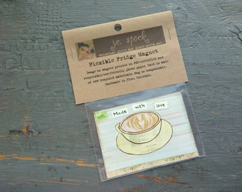 """SALE!  Art Magnet, Flexible magnet, fridge magnet, whimsical coffee, coffee art, 2.5"""" x 3.5"""" (64 x 89mm) """"Made with Love Cappuccino"""""""