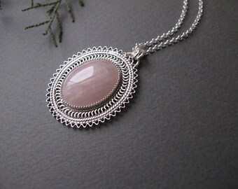 Rose Quartz Necklace, Pink necklace, Filigree silver necklace, Rose quartz jewelry, Israel jewelry, pink pendant, gift for mother