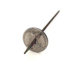Modern Coin Tahkli Support Spindle Washington Quarter Supported Spinning of Handspun Lace Yarn or Thread - like Russian or Tibetan or Takhli