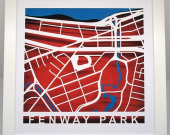 Fenway Park cut map - Boston Red Sox -  Red, White and Blue - Boston