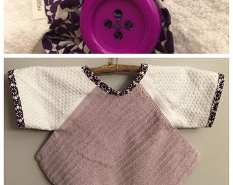 BL006 - FREE SHIPPING - Baby Bib with Sleeves, Toddler Bib with Sleeves, Button Clasp, Girl, Birthday, Purple, Lavender, Geometric Design