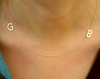 İnitial Necklace-Sideways Necklace-İnitial Sideways Necklace-Letter Necklace-Custom Necklace-925K Silver Handmade İnitial Sideways Necklace