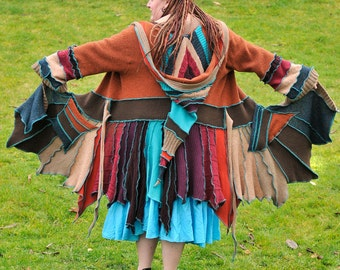 Custom Upcycled Sweater Pixie Coat - Autumn Leaves on Water