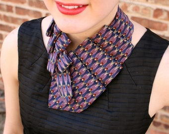 Necktie Scarf - Gift For Mom - Up-cycled Tie - Hipster Scarf - Purple and Navy Lauren Scarf. 27