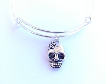 Girly skull with flower Day of the Dead silver plated bangle bracelet