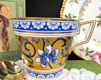 Antique Coalport Painted Enameled Breakfast TeaCup No Saucer 24KT Gold Teacup
