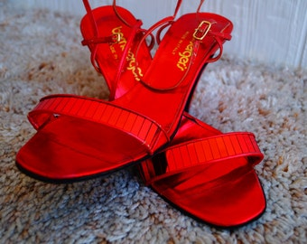 Vintage 70s Red Heels - Bamberger's Heels - Size 7
