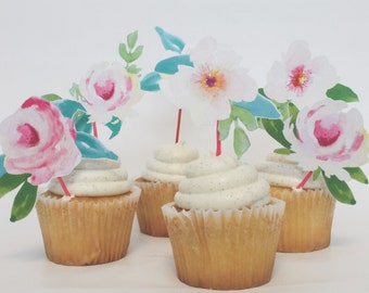 Wedding Cupcake Toppers |  Bridal shower, Engagement, Anniversary, Garden, English Tea Party, Miss to Mrs, watercolor party decoration