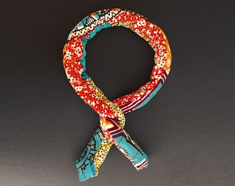 Headband hairband padded memory - adjustable and reversible patchwork wax #8