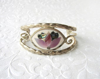 CUTE Vintage Childs Bracelet Inlay Shell Abalone MOP Extra Small Cuff Tiny Mexican Alpaca Mexico Style Jewelry Silver Tone