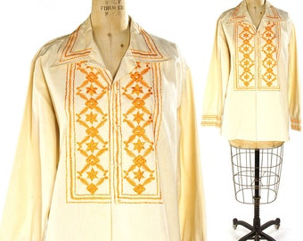 Embroidered Peasant Blouse / Vintage 1970s Mexican Cotton Button Up Shirt with Orange Embroidery