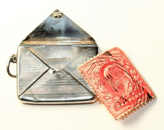 Antique Sterling Silver Stamp Holder Case Pendant/Charm with Loop (c1900s) FREE SHIPPING