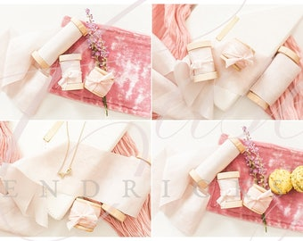 Blush pink stock photos with macarons and ribbon