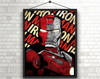 Iron Man Tony Stark artwork portret superheroes  poster