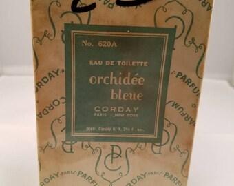 Vintage 1920's Corday Orchidee Bleue Eau De Toilette 2.5 oz