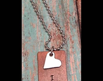 Hand stamped I love you necklace