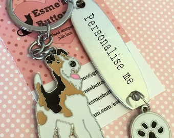 Personalised Fox Terrier keyring, Fox Terrier gift, Hand Stamped, Key Chain, fox Terrier keyring ,Dog Lover, dog gift, for her, for him