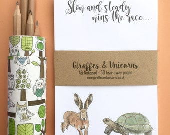 Tortoise and Hare A6 notepad, to do list, deskpad, motivational notepad