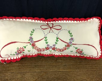 Antique embroidery pillow. Throw pillow. Red white purple flowers ribbon.